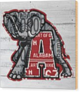 Roll Tide Alabama Crimson Tide Recycled State License Plate Art Wood Print