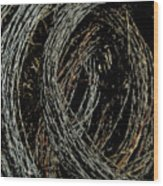Rolled Barbed Wire-signed-#1936 Wood Print