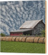 Rolled Up - Hay Rolls And Barn Wood Print