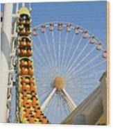 Roller Coaster And Ferris Wheel Wood Print