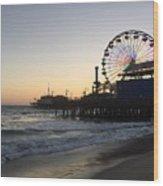 Roller Coaster Beach Wood Print