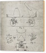 Roller Skate Patent - Patent Drawing For The 1882 F. A. Combes Roller Skate Wood Print