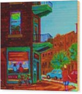 Rollerblading  Past The Cafe Wood Print