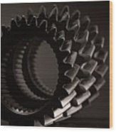 Rollin' Gears Black And White Wood Print