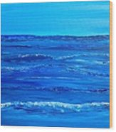 Rolling Blue, Triptych 2 Of 3 Wood Print