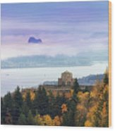 Rolling Fog At Columbia River Gorge In Fall Wood Print