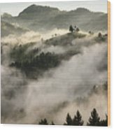 Rolling Fog At Sunrise In The Skofjelosko Hribovje Hills With St Wood Print