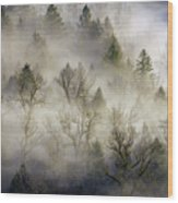 Rolling Fog In Sandy River Valley Wood Print