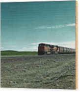 Rolling Freight Train Wood Print