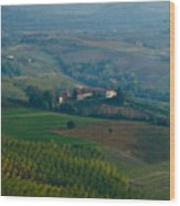 Rolling Hills Of The Piemonte Region Wood Print