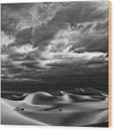 Rolling Sand Dunes Bw Wood Print