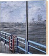 Rolling Waves In Winter At Grand Haven Wood Print