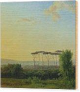 Roman Countryside Wood Print by Pierre Henri de Valenciennes