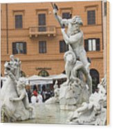 Roman Fountain Wood Print