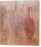 Roman Fresco Of Drink Pitchers, Herculaneum, Italy Wood Print