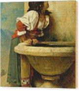 Roman Girl At A Fountain Wood Print