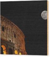 Roman Moon Wood Print