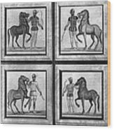 Roman Mosaic: Charioteers Wood Print