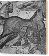 Roman Mosaic: Man & Horse Wood Print