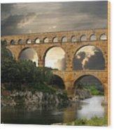 Roman Pont Du Gard Wood Print by Melvin Kearney