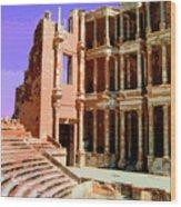 Roman Ruins At Sabrayha Wood Print