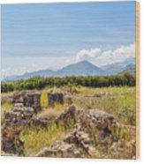 Roman Villa Ruins On Crete Wood Print