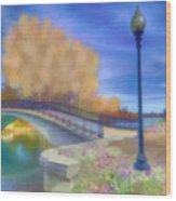 Romance At Elizabeth Park Bridge Wood Print