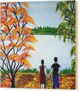 Romance In Autumn Wood Print