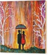Romance In The Rain Wood Print