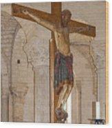 Romanesque Abbey Crucifix Wood Print