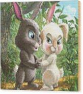 Romantic Cute Rabbits Wood Print
