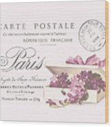 Romantic French Victorian Postcard Wood Print
