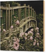 Romantic Garden And Bridge Wood Print