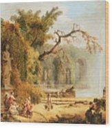 Romantic Garden Scene Wood Print by Hubert Robert