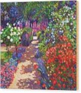 Romantic Garden Walk Wood Print by David Lloyd Glover