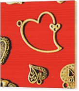 Romantic Heart Decorations Wood Print