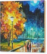 Romantic Night 2 - Palette Knife Oil Painting On Canvas By Leonid Afremov Wood Print