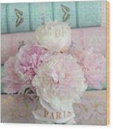 Paris Peonies Floral Books Art - Pink And Aqua Peonies Books Decor - Shabby Chic Peonies  Wood Print