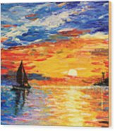 Romantic Sea Sunset Wood Print