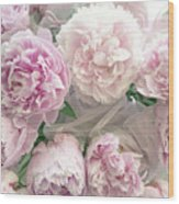 Romantic Shabby Chic Pastel Pink Peonies Bouquet - Romantic Pink Peony Flower Prints Wood Print