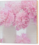 Shabby Chic Pastel Pink Peonies - Pink Peonies In White Mason Jars Wood Print