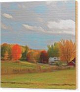 Romantic Skies Autumn Farm Wood Print