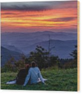 Romantic Smoky Mountain Sunset Wood Print