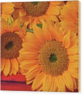 Romantic Sunflowers Wood Print