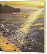 Romantic Sunset Surf Wood Print