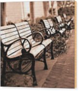 Romantic Surreal Park Bench Pink Sepia Tones Wood Print