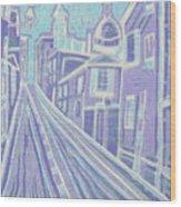 Romantic Town In Blue Wood Print