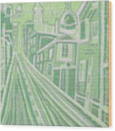 Romantic Town In Green Wood Print