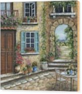 Romantic Tuscan Courtyard II Wood Print
