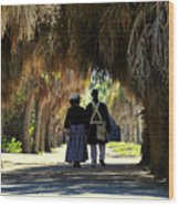 Romantic Walk 1870 Wood Print